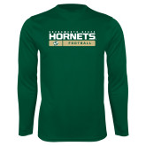 Performance Dark Green Longsleeve Shirt-Sacramento State Football w/ Bar