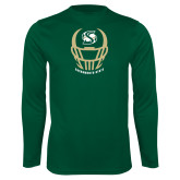 Performance Dark Green Longsleeve Shirt-Sacramento State Football w/ Helmet