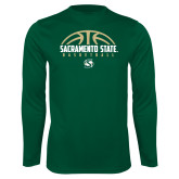 Performance Dark Green Longsleeve Shirt-Sacramento State Basketball Half Ball