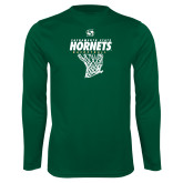 Performance Dark Green Longsleeve Shirt-Sacramento State Hornets Basketball w/ Net