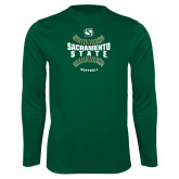 Performance Dark Green Longsleeve Shirt-Sacramento State Hornets Softball w/ Seams