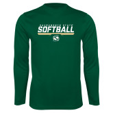 Performance Dark Green Longsleeve Shirt-Sacramento State Softball Stencil