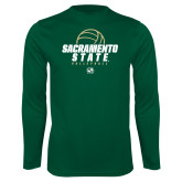 Performance Dark Green Longsleeve Shirt-Sacramento State Volleyball w/ Ball