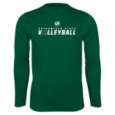 Performance Dark Green Longsleeve Shirt-Sacramento State Volleyball Flat
