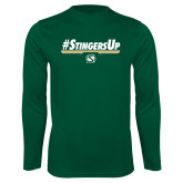 Performance Dark Green Longsleeve Shirt-#StingersUp