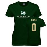 Ladies Dark Green T Shirt-Official Logo, Custom Tee w/ Name and #
