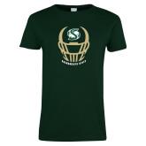 Ladies Dark Green T Shirt-Sacramento State Football w/ Helmet