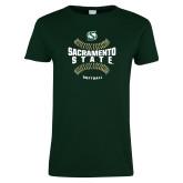 Ladies Dark Green T Shirt-Sacramento State Hornets Softball w/ Seams