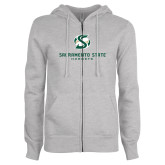 ENZA Ladies Grey Fleece Full Zip Hoodie-Stacked Logo