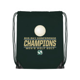 Dark Green Drawstring Backpack-2017 Big Sky Conference Mens Golf