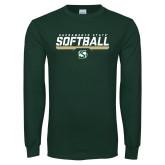 Dark Green Long Sleeve T Shirt-Sacramento State Softball Stencil