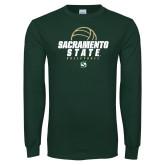 Dark Green Long Sleeve T Shirt-Sacramento State Volleyball w/ Ball