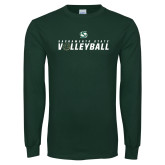 Dark Green Long Sleeve T Shirt-Sacramento State Volleyball Flat