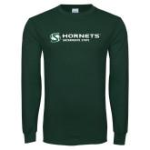 Dark Green Long Sleeve T Shirt-Official Logo Flat