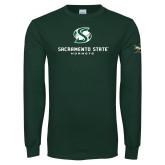Dark Green Long Sleeve T Shirt-Stacked Logo