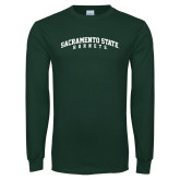 Dark Green Long Sleeve T Shirt-Arched Sacramento State Hornets