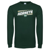 Dark Green Long Sleeve T Shirt-Slanted Sacramento State Hornets w/ Lines