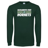 Dark Green Long Sleeve T Shirt-Sacramento State Hornets Stacked w/ Stripes