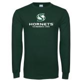 Dark Green Long Sleeve T Shirt-Official Logo Distressed