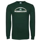 Dark Green Long Sleeve T Shirt-Sacramento State Football w/ Ball