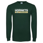 Dark Green Long Sleeve T Shirt-Sacramento State Football w/ Bar