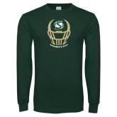 Dark Green Long Sleeve T Shirt-Sacramento State Football w/ Helmet