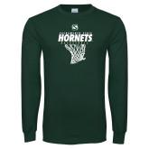 Dark Green Long Sleeve T Shirt-Sacramento State Hornets Basketball w/ Net