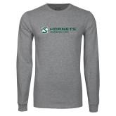 Grey Long Sleeve T Shirt-Official Logo Flat