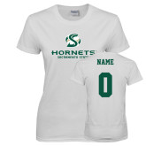 Ladies White T Shirt-Official Logo, Custom Tee w/ Name and #