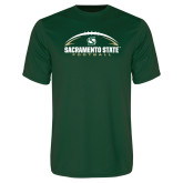 Performance Dark Green Tee-Sacramento State Football w/ Ball