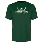 Performance Dark Green Tee-Sacramento State Football w/ Field