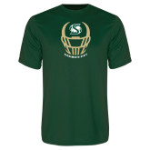Performance Dark Green Tee-Sacramento State Football w/ Helmet
