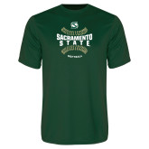 Performance Dark Green Tee-Sacramento State Hornets Softball w/ Seams