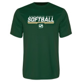 Performance Dark Green Tee-Sacramento State Softball Stencil