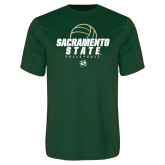 Performance Dark Green Tee-Sacramento State Volleyball w/ Ball