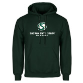 Dark Green Fleece Hood-Stacked Logo