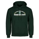 Dark Green Fleece Hood-Sacramento State Football w/ Ball