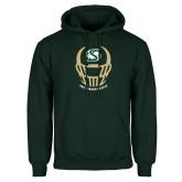 Dark Green Fleece Hood-Sacramento State Football w/ Helmet