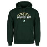 Dark Green Fleece Hood-Sacramento State Basketball Half Ball