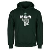 Dark Green Fleece Hood-Sacramento State Hornets Basketball w/ Net