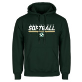 Dark Green Fleece Hood-Sacramento State Softball Stencil