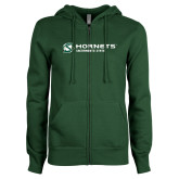 ENZA Ladies Dark Green Fleece Full Zip Hoodie-Official Logo Flat