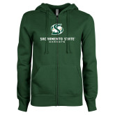 ENZA Ladies Dark Green Fleece Full Zip Hoodie-Stacked Logo