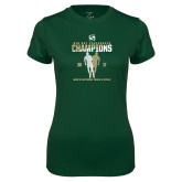 Ladies Performance Dark Green Tee-2017 Big Sky Conference Mens Outdoor Track and Field Champions