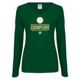 Ladies Dark Green Long Sleeve V Neck Tee-2017 Big Sky Conference Mens Golf