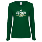 Ladies Dark Green Long Sleeve V Neck Tee-2019 Womens Track and Field Champions
