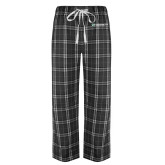 Black/Grey Flannel Pajama Pant-Official Logo Flat