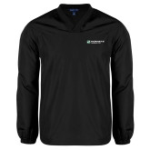 V Neck Black Raglan Windshirt-Official Logo Flat