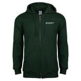 Dark Green Fleece Full Zip Hoodie-Official Logo Flat