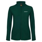 Ladies Fleece Full Zip Dark Green Jacket-Official Logo Flat